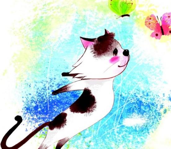 """""""猫像疯子一样,从花圃中蹿过去……  等猫闯出这个花圃,两只蝴蝶已经"""